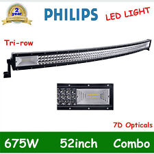 52Inch 675W Curved LED Work Light Bar Flood Spot Combo Tri-row Light Offroad 7D+