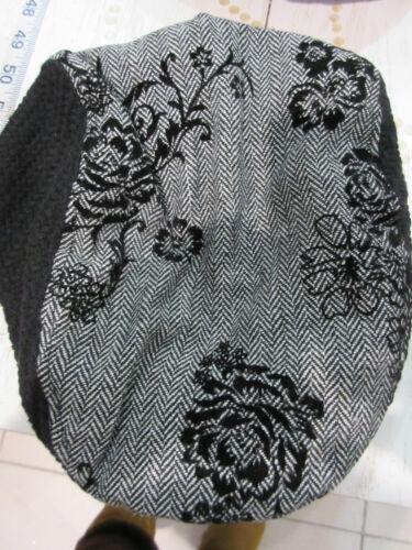 News Boy Hat Velvet Burnout Floral Black Gray Wool Blend Beret Cabby NWT DC745