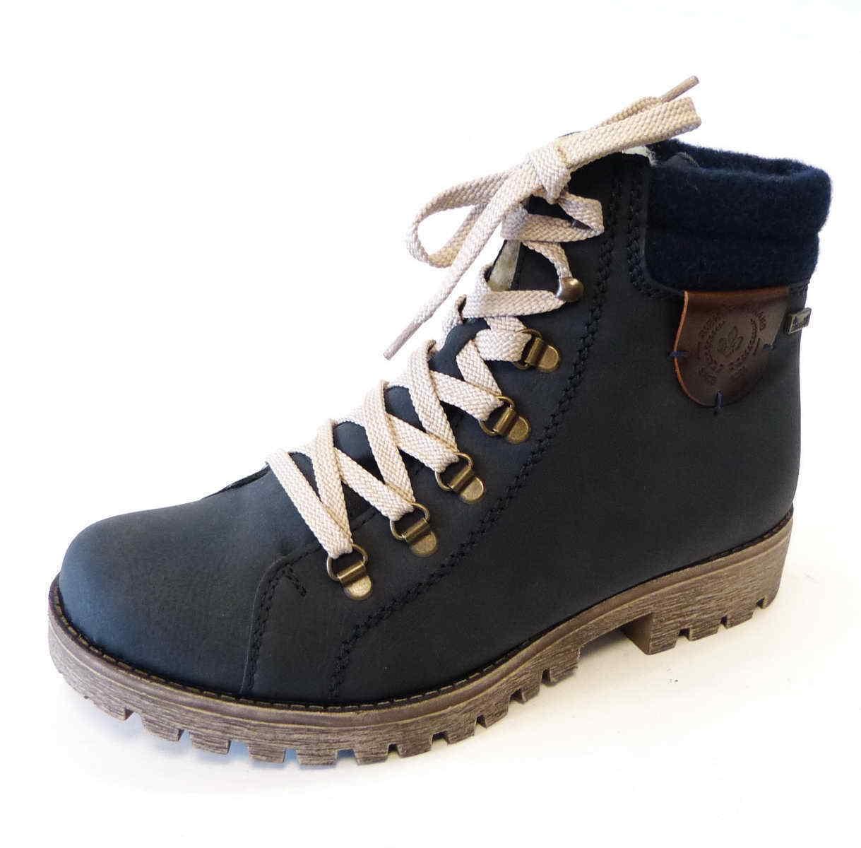 Rieker Stiefel 785F8 14 mare blau navy Reißverschluß Schnür warm Stiefel