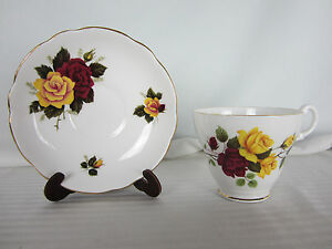Royal Ascot Cup and Saucer Bone China Red Yellow Roses Made in England New