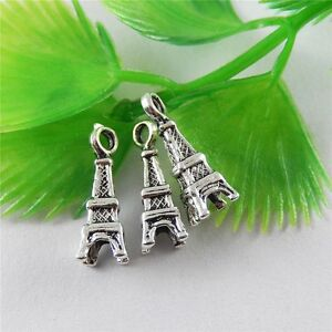 Vintage-Silver-Alloy-Eiffel-Tower-Pendant-Charms-Crafts-Findings-50pcs-15139