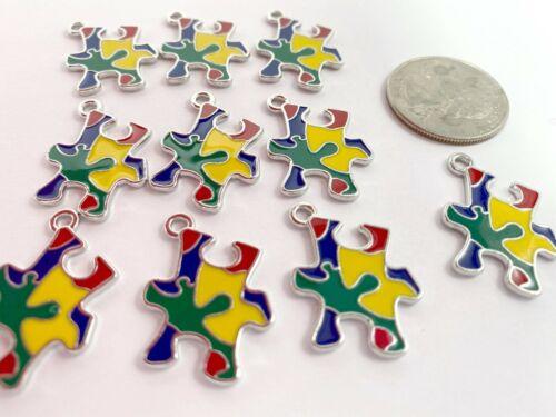 Autism Charms Puzzle Shapes Enamel Charms 21mm x18mm 10 pcsk DIY