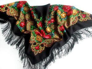 779-18-Laine-Echarpe-Naturel-Pur-Pavlovo-Posad-Chale-russe-style-soie-frange-NEUF