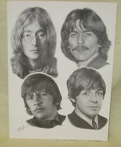 FAB-Black-amp-White-A5-Sized-Print-on-Card-Showing-The-Beatles-c1967