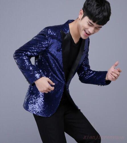 Men Glitter Sequin Blazer One Button Stage Show Slim Coat Nightclub Dance Jacket