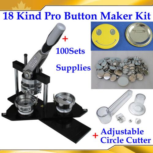 18Kinds Pro Badge Button Maker Machine+Adjust Circle Cutter+100 Pinback Parts