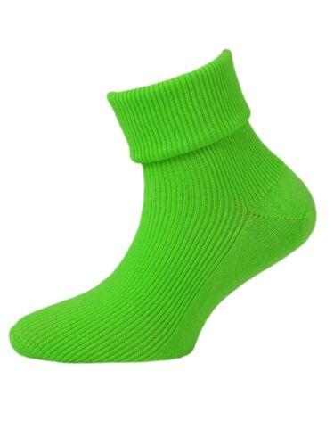 6 Paia Neon ragazze Cotone Alla Caviglia UK Fatto Calzini Rosa Verde Giallo