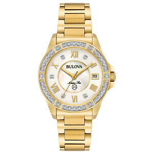 Bulova-Marine-Star-Women-039-s-98R235-Quartz-Diamond-Accents-Gold-Tone-32mm-Watch