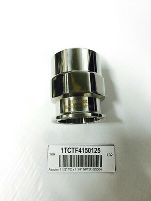 """1-1/2"""" to 1-1/4"""" CLAMPED FEMALE NPT ADAPTOR STAINLESS Clamp Fitting 1.5 1.25"""