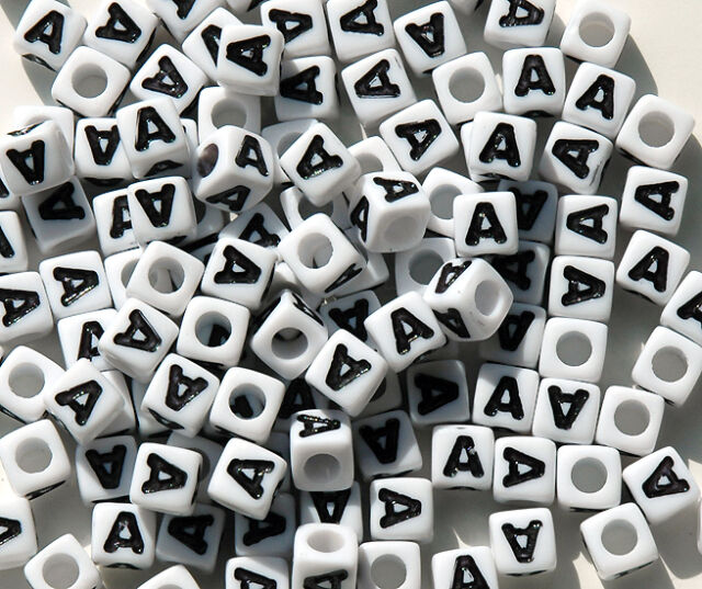 100pc 7mm Alphabet Beads White with Glossy Black Letters Letter C