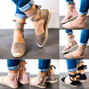 Women-Casual-Fashion-Lace-Up-Espadrilles-Sandals-Flats-Heel-Ankle-Strap-Shoes
