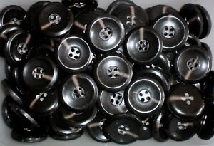 Large 28mm 44L Black Polished 4 Hole Quality Coat Craft Jacket Buttons Q501