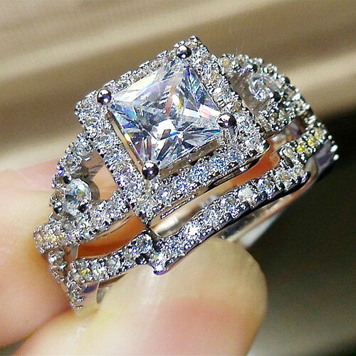 Details about  /14K White Gold Over 2CT Princess Round Diamond Wedding Bridal Ring Set For Women