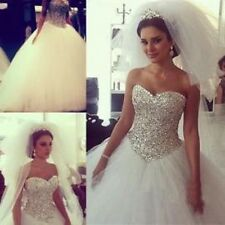 Luxury Crystal Beading Sweetheart Ball Gown Wedding Dresses Princess Bridal Gown