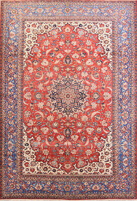 Antique Old Palace Size Vegetable Dye 11x16 Wool Najafabad