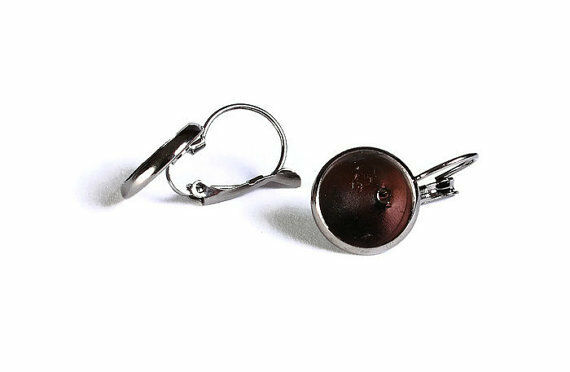 5 pairs (10 pcs) x gunmetal black drop lever back earrings - suit 12mm cabochons