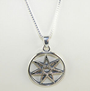 Heptagram septagram pendant on a box chain necklace 18 inches long image is loading heptagram septagram pendant on a box chain necklace aloadofball Choice Image