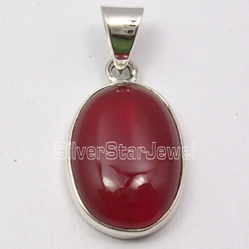 """925 Solid Silver CABOCHON RED CARNELIAN MADE IN INDIA Pendant 1.1/"""" ONLINE BUY"""