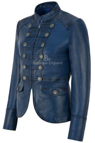 8976 Chaqueta para Victory en de mujer cuero cordero azul genuina estilo de piel militar rOfRwr
