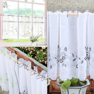 Details about Elegant Embroidered Half Window Curtains Kitchen Cafe Privacy  Window Tiers