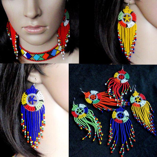 African beaded cascade tassel earrings multi-colour bright statement beach