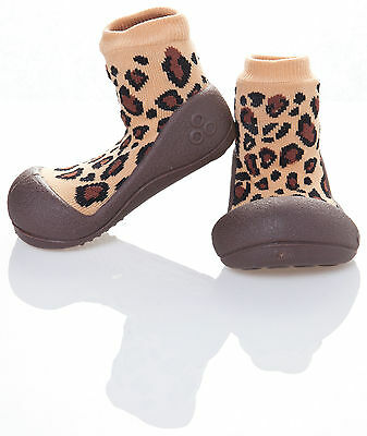 Attipas Baby Toddler First Shoes Leopard Brown Knitted Rubber Wide Sole Slip-on