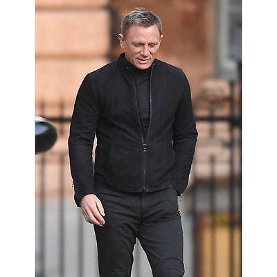 James Bond Spectre 100/% Genuine Lamb Black Suede Leather Jacket with Two Way Zip