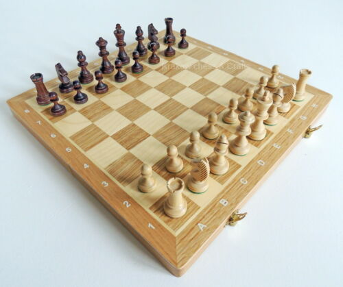BRAND NEW OAK & MAPLE TOURNAMENT NR3 WOODEN CHESS SET 35cm x 35cm