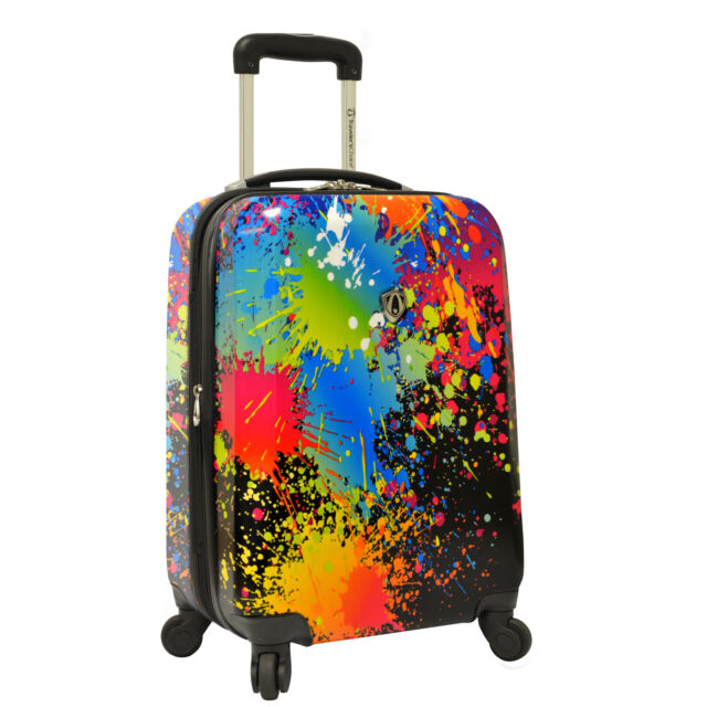 """Paint Splatter Art Print Unique 21"""" Carry-on Hardside Spinner Expandable Luggage"""