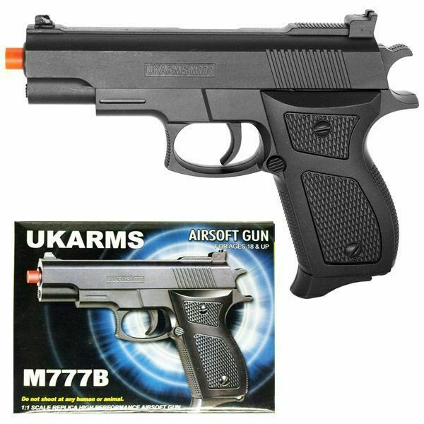 Uk Arms 6 Black Plastic Airsoft Pistol Handgun Gun W Bbs 105fps Air Soft M777b For Sale Online Ebay