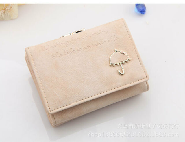 New Women's Matte PU Leather Wallet Button Clutch Purse Lady Short Handbag Bag