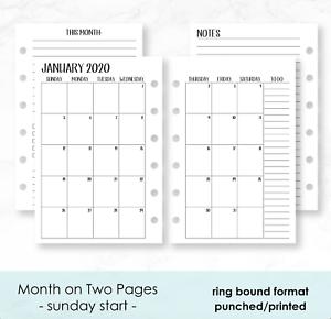 Calendario 202018.Details About 2020 Monthly Calendar Planner Fits Filofax Small 6 Ring Pocket Agenda Organizer