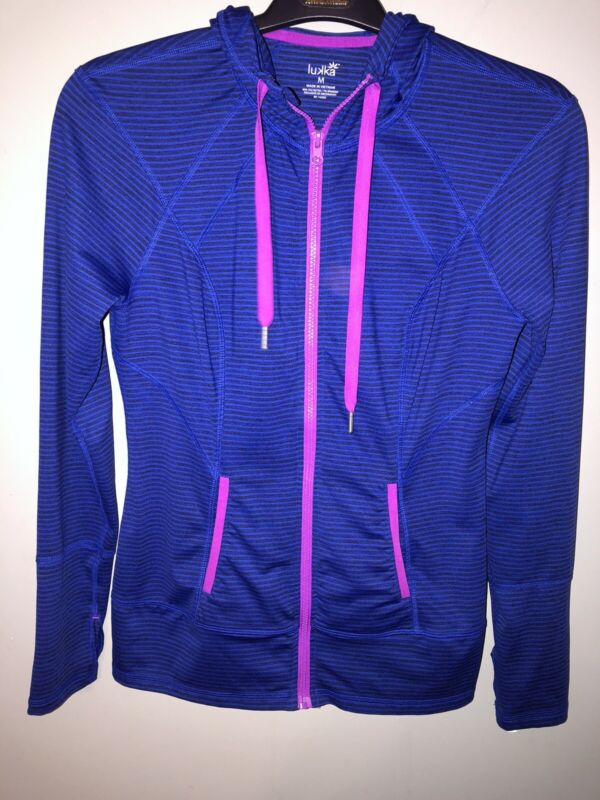 Lukka Womens M Blue Striped Hooded Zip Up Jacket Thumb Holes Available In Various Designs And Specifications For Your Selection