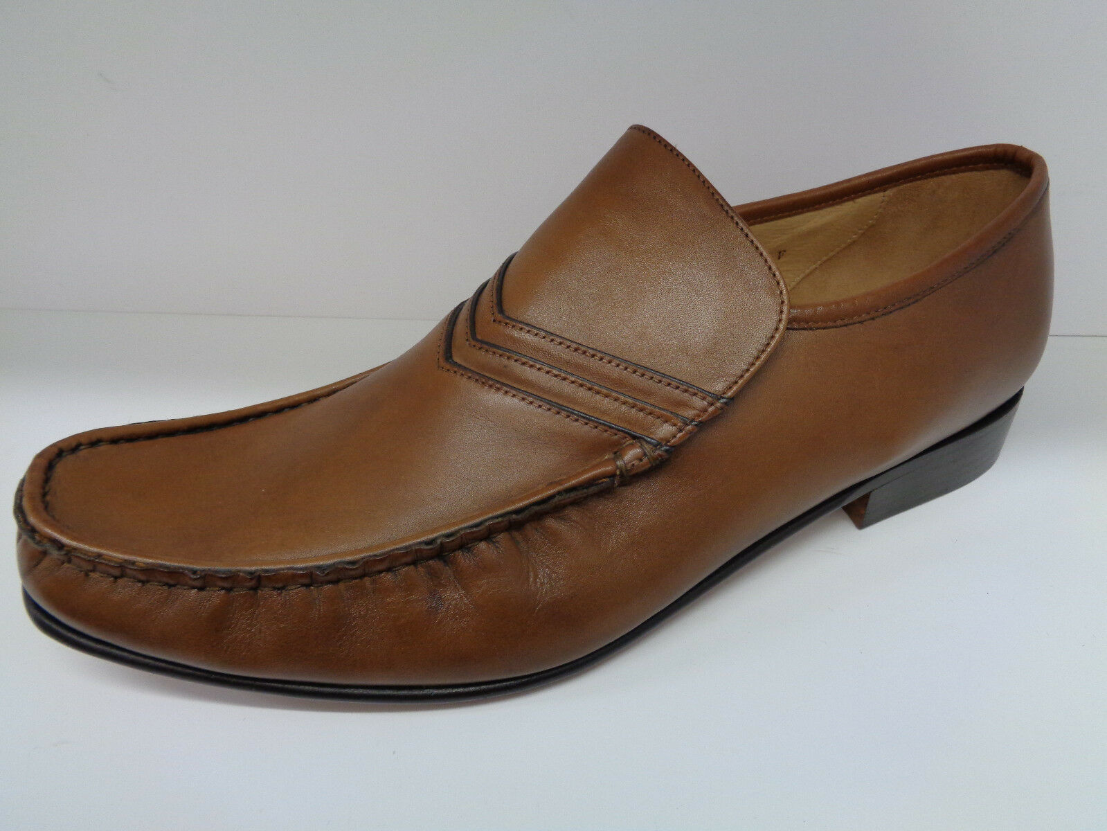 Mens Brown Leather Slip On Grenson Formal shoes UK 10.5F Idaho (SHOP SOILED)