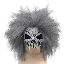 Adulto grigio #skull Mezzo Viso Maschera & Capelli Costume Scheletro Accessorio Vestito