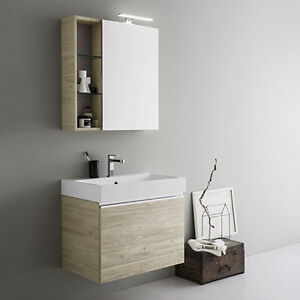 Mobile da bagno sospeso moderno da cm 70x45 con specchio contenitore e faretto l