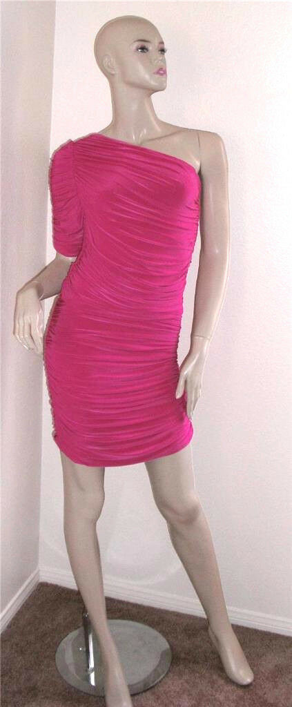 NWT T-Bags Los Angeles Ruched One Shoulder Pink Dress Large
