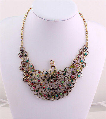 New Fashion Crystal Set Vintage Peacock Pendant Statement Bib Choker Necklace