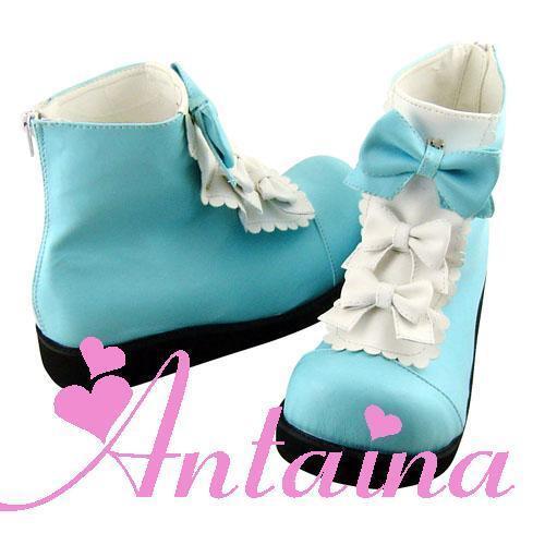 Weiß blau blau blau lolita damen-stiefel Stiefel Schuhe shoe Weiß Blau cute stiefeletten 42584c