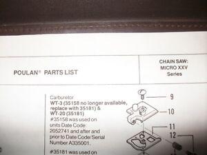 Poulan Micro Xxv Chainsaw 1985 Illustated Parts List Vintage