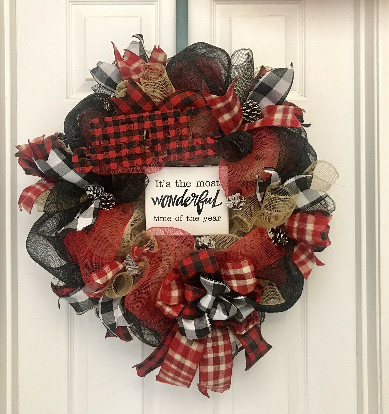 Wreaths 25 Christmas Buffalo Plaid Wreaths For Front Door Thanksgiving Holiday Wreath With Gingham Bow Autumn Welcome Wreath Door Hanger Garland Home Outdoor Christmas Decoration Ornament Home Kitchen Startsolar Com Au