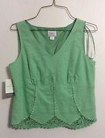 Emma James Sage Green Crochet W/ Linen Top Fully Lined 6p