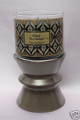 NWT BATH & BODY WORKS BROWN/GREEN CERAMIC PEDESTAL 3-WICK CANDLE HOLDER NEW