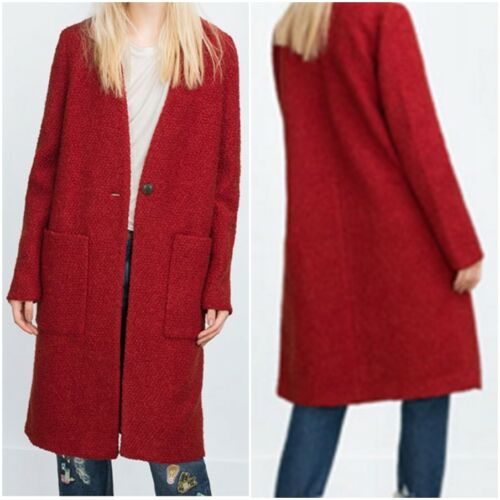 Dark Orange, US M // EUR  M ZARA Women/'s Wool Coat