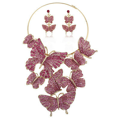 H-Quality Huge Butterfly Necklace Earrings Set Austrian Crystal Rose Pink Party