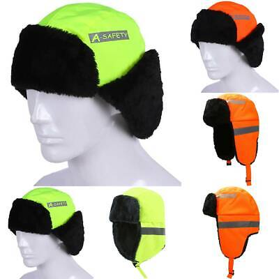 Reflective Safety Aviator Trapper Hat Winter Cap Ski Warm Fur Cap