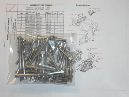 Yamaha XV250 Virago V-Star SRV250 Engine Covers 52pc Stainless M6 Allen Bolt Kit