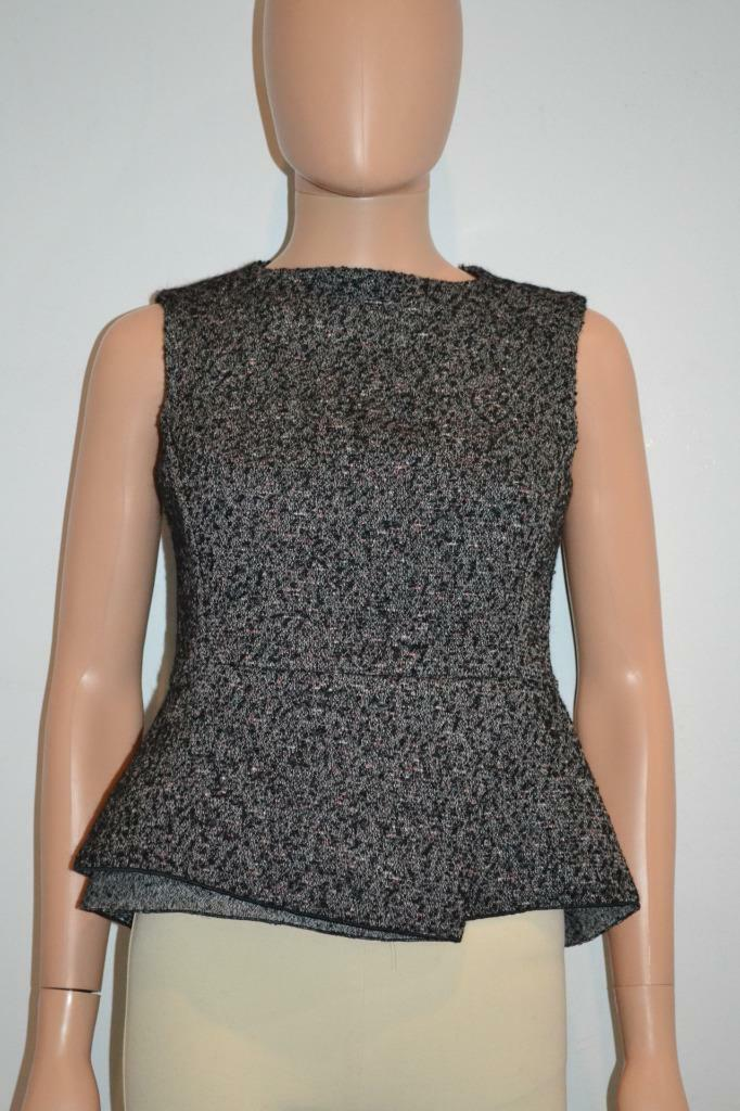 NWT Derek Lam schwarz Multi Cotton Wool Alpaca Peplum Sleeveless Top Größe 2