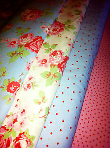 CATH KIDSTON FOR IKEA FABRIC ROSALI BLUE WITH RED SPOTS 50CMS X 50CMS