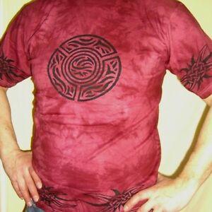 T-shirt-Batique-coton-CELTIQUE-rouge-fonce-Inde-Goa-hippietrance-taille-L-HOMME